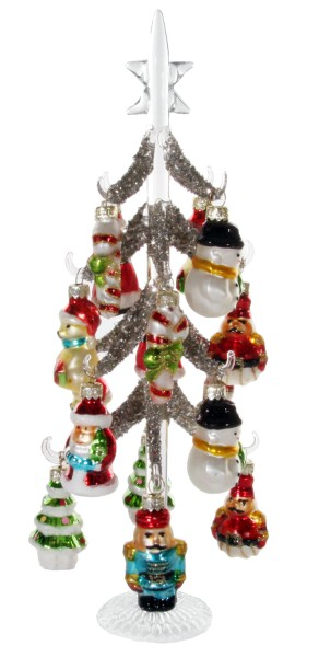 ShiShi GLASS TREE silver glitte, 30cm w/ figures