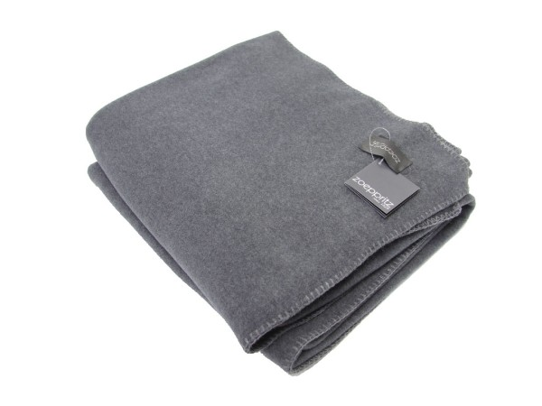 Graue DECKE aus Fleece von Zoeppritz SOFT FLEECE ANTHRACITE MELANGE col. 960 160x200 cm